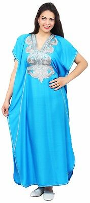 Moroccan Women Caftan Muslim Long Dress Casual Kaftan Abaya Cotton Blue
