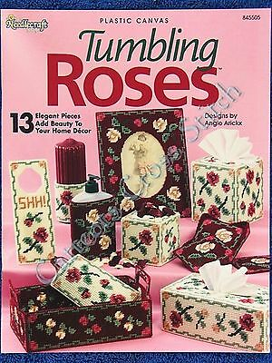 Plastic Canvas Pattern Tumbling Roses Tissue Covers ++