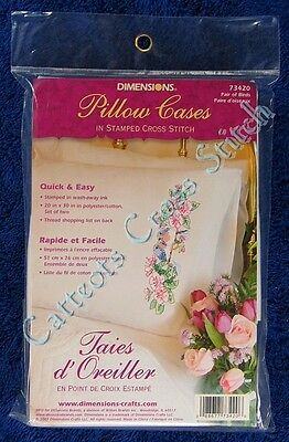 Stamped Cross Stitch Pillowcase Pair Of Birds Two Bluebirds & Pink Hibiscus