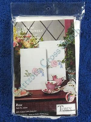 "Stamped Hand Towels to Cross Stitch Pair Rose Bluebells Terry 16"" x 25"" OOP"