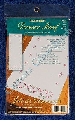 "Stamped Embroidery Rose Hearts Dresser Scarf Rose 14"" x 39"" Runner Easy"