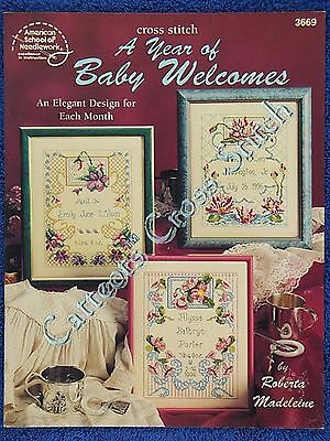Cross Stitch Pattern Baby Birth Record Announcement A Year 12 Welcomes Flowers