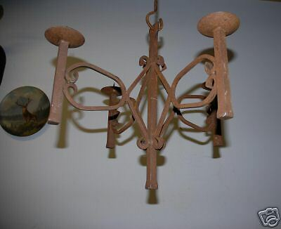 Rustic Wrought Iron Hanging 4 arms Candelabra Pendant