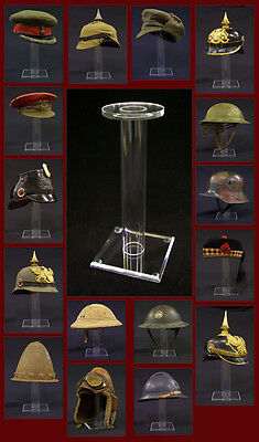 WWI German British US French Russian Helmet Hat Cap Acrylic Display Stand