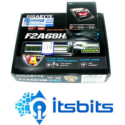 GIGABYTE F2A68HM-DS2 AMD + AMD A8 7650K FM2 3.8GHz QUAD CORE BLACK CPU + 8GB RAM