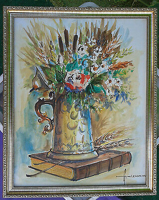 FLOWERS VASE Still Life Art Mid Century Vintage Oil Painting signed G.Clemmens