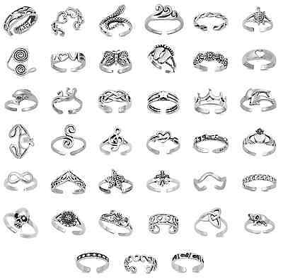 Solid Sterling Silver 925 Adjustable Stacking Midi Ring Toe Knuckle Top Finger