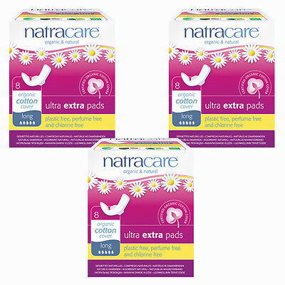 Natracare Organic Sanitary Towels: Ultra Extra Pads, LONG X 3