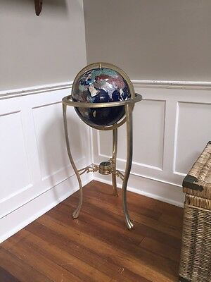 "GEMSTONE FLOOR STAND GLOBE with Compass 34.5"" Tall 13"" Sphere Rare and Stunning"