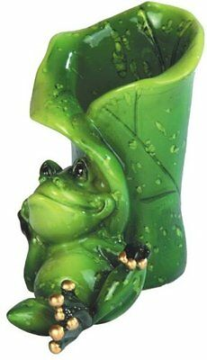 "3.75"" Green Frog Resting on Leaf Figurine Statue Amphibian Animal Decor Figure"