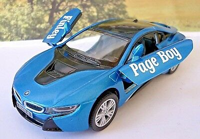 Wedding Day Gift Personalised Page Boy Usher Name Blue BMW I8 Toy Car Boxed