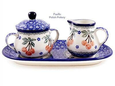 Pacific Polish Pottery CA Stoneware Poland Cream Sugar & Tray Set (422-1153)