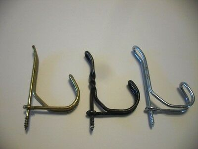 3 Vtg Steel WIRE HOOKS Screw in Hat Coat Towel Bath Closet MUDROOM school house