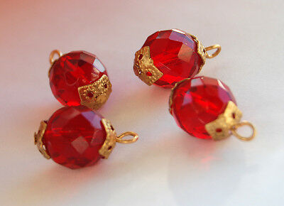 VINTAGE FACETED GLASS BALL BEAD ROUND PENDANTS 12mm BRASS CAPS RUBY RED