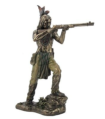 "10.5"" Indian Warrior Shooting Rifle Native American Statue Decor Figure Figurine"