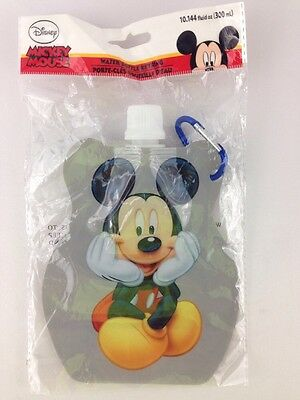 Disney Mickey Mouse Foldable Water Bottle with Keyring Portable Unbreakable