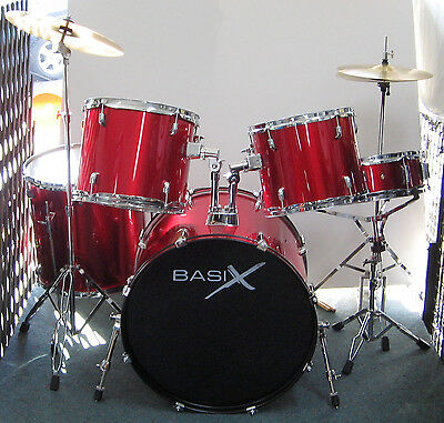 BASIX 5pce DRUM KIT WITH CYMBALS & THRONE *see video* DOUBLE BRACED HARDWARE