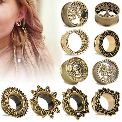 Pair Antiqued Tribal Afghan Brass Tunnels Plugs Gauges Tunnel Plug Ear Gauge