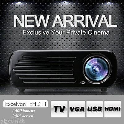 "2000:1 2600 Lumens 200""FHD Home Theater Multimedia LED Projector USB HDMI VGA AV"