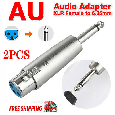 """2x Female XLR Plug To 1/4"""" 6.35mm Male Mono Jack Microphone Cable Audio Adapter"""