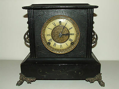 "Antique Working GILBERT ""Tuxedo"" Victorian Ebony Wood Mantel Shelf Clock c.1900"