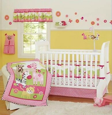 New 7 Pieces Beautiful Pink Zebra theme Baby girl Crib Cot Bedding Quilt Set