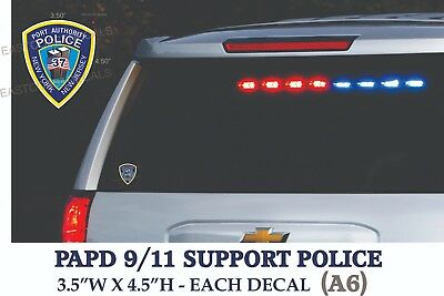 2 decals Support Police PAPD 9-11 Fallen Officers DECAL Sticker Sept 11  9/11/01
