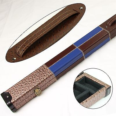 COPPER BLUE BROWN Leather Patch Style 3/4 Cue Case Holds 3/4 Jointed 3pc Snooker