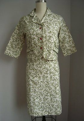 NOS Vtg 60's Olive Floral 2 Pc Outfit Dress Suit Cropped Jacket Pencil Skirt XS
