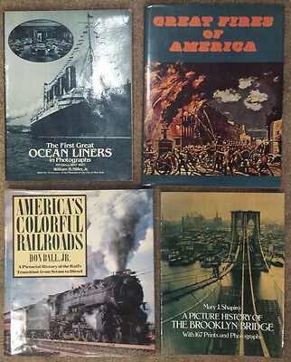 Historical 4 Book LOT • Brooklyn Bridge • Ocean Liners • Great Fires • Railroads