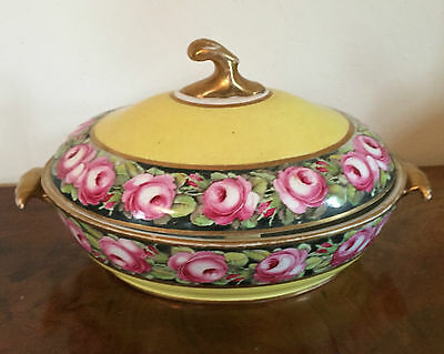 Big 19th c. Georgian Coalport Porcelain Vegetable Tureen Entree Dish 1805 Yellow