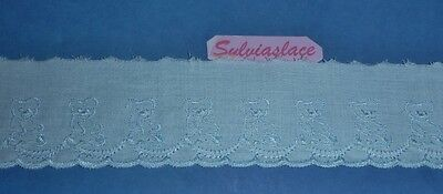3 metres of    White / Blue Teddy Bear  Design   Broderie Anglaise   5 cm wide
