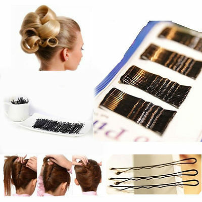 Lots 60Pcs Invisible Hair Clips Flat Top Bobby Pins Grips Salon Barrette Black