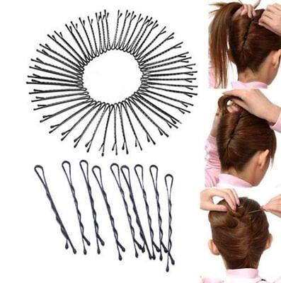 Lots 60Pcs Invisible Hair Clips Flat Top Bobby Pins Grips Salon Barrette Black H