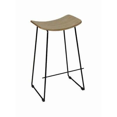 Lily Stool Bar Stool Kitchen Plywood  & Black Metal Frame Replica Y Design