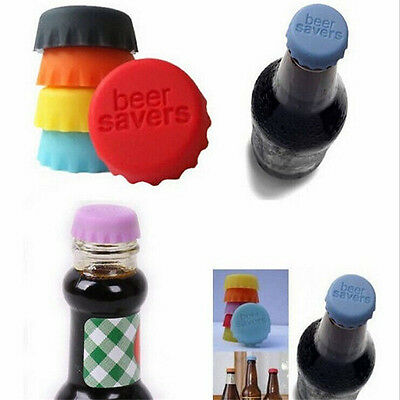6pcs Lovely Beer Bottle Silicon Caps Saver Cover Reusable Stopper Lid Colour New