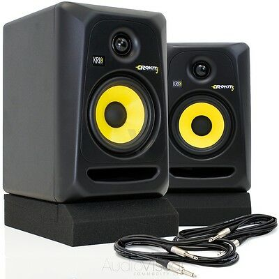 KRK RP5 G3 Active Powered Active Studio DJ Monitors w/ Isolation Pads & Leads