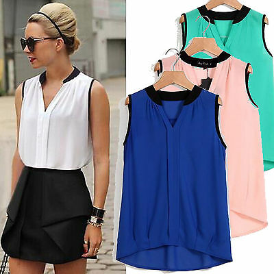 Women Chiffon Sleeveless Shirt Tops Ladies Loose Casual Blouse 4 Color Size 8-20