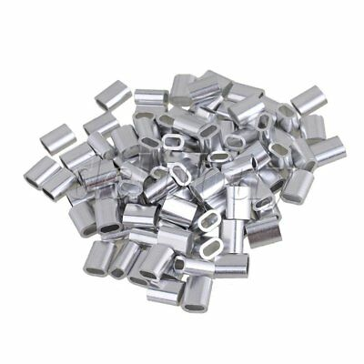 100pcs M3 Oval Aluminum Ferrule Clamp Swage Clip Silver for 3mm Wire Rop