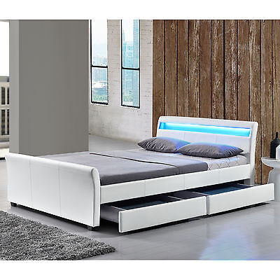 bett in weiss hochglanz 180 x 200 cm mit nakos und bettkasten woody 33 01172 eur 319 00. Black Bedroom Furniture Sets. Home Design Ideas