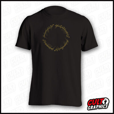 Lord of the Rings Gold Inscription TShirt  S-XXL  Book BluRay DVD Collectors Box