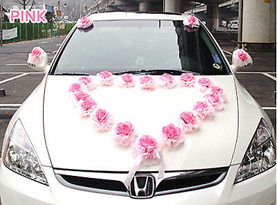 Set of 28 Flowers Wedding car Heart Rose Decorations kit Pink bow set