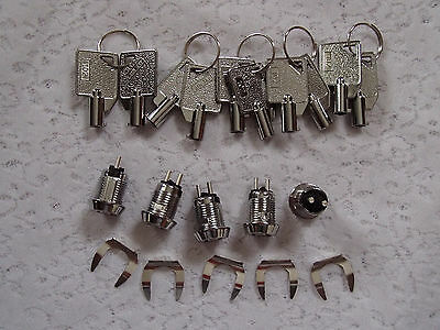 LOT OF 5  On/Off Key Switch Lock with 2 Round Keys & 1 Key Terminal Combination