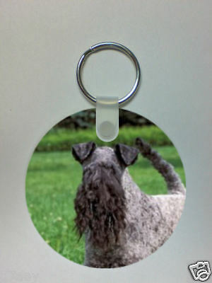 KERRY BLUE TERRIER ROUND PICTURE KEYRING 60mm Dia