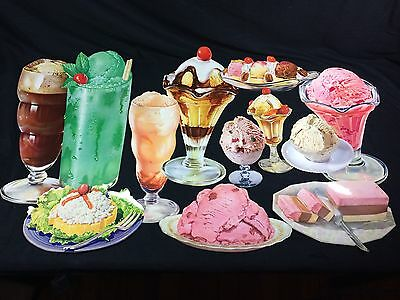 12 Vintage Ice Cream Die Cut Paper Signs Soda Fountain Dairy Advertising #4
