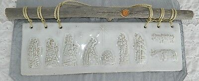 Pottery Clay Molded Nativity Wall Hanging Rustic Branch Wood Rope Hanger Header
