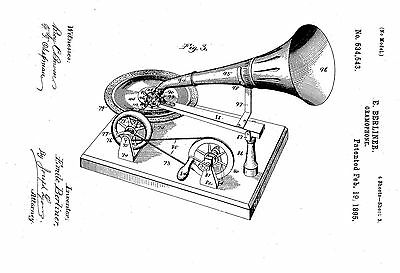 Emile Berliner Gramophon - Copy of Patent dated 1895