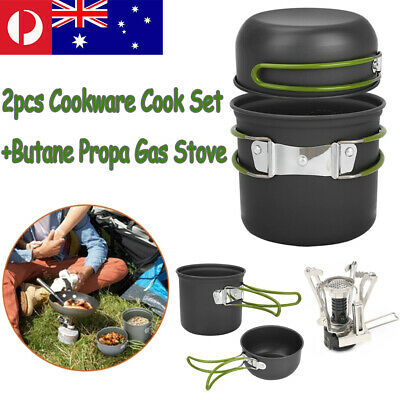 Camp Hiking Picnic BBQ Pot/Bowl 2pcs Cookware Cook Set+Butane Propa Gas Stove