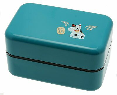 Kotobuki 2-Tiered Bento Box, Maneki Neko Lucky Cat, Teal [Kitchen]
