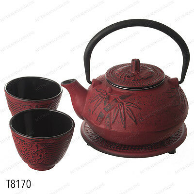 Japanese Cast Iron Tea Pot Set Burgundy Red Bamboo